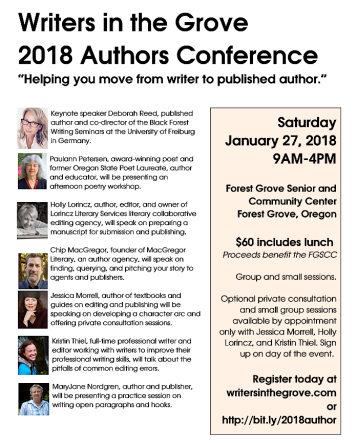 2018 Writers in the Grove Authors Conference speakers list flyer